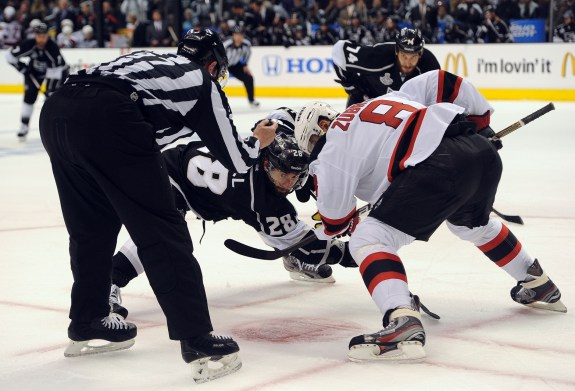 Dainius Zubrus faces off against Jarret Stoll of the Los Angeles Kings during Game 6 of the SC Finals. (Jayne Kamin-Oncea-USA TODAY Sports)