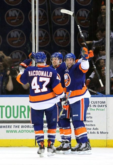 Michael Grabner, Andrew MacDonald, and Colin McDonald illustrate Garth Snow's moves perfectly as they are the perfect mix of waiver-wire pick-ups, low-risk free agent signings, and home grown talent that have worked out very well for New York. (Brad Penner-USA TODAY Sports)
