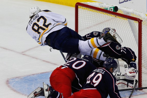 """Not the """"Foligno Leap"""" like father Mike (Russell LaBounty-USA TODAY Sports)"""