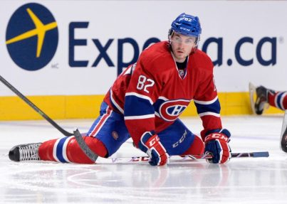 Patrick Holland warming up for the Montreal Canadiens.