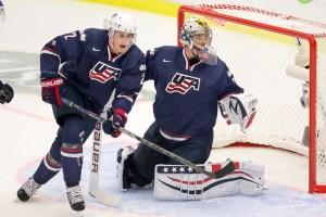 Brady Skjei and Jon Gillies of Team USA – 2014 World Juniors (WJHC)