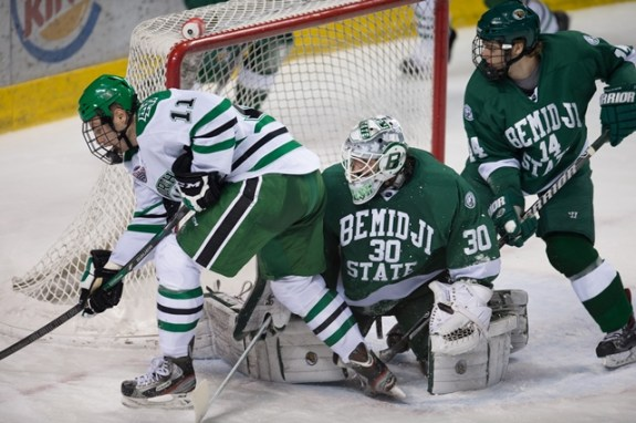 BSU goalie Adam Walsh, Eric Classen, UND Athletics