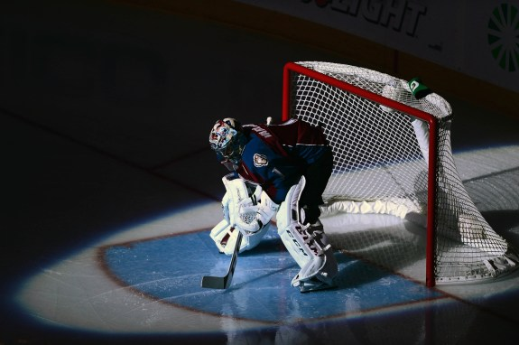Varlamov has been placed in the spotlight all year- for both reasons good and bad.(Ron Chenoy-USA TODAY Sports)