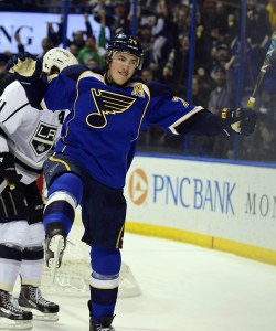 Oshie celebrates his second goal against the Kings Thursday night (Scott Rovak-USA TODAY Sports)