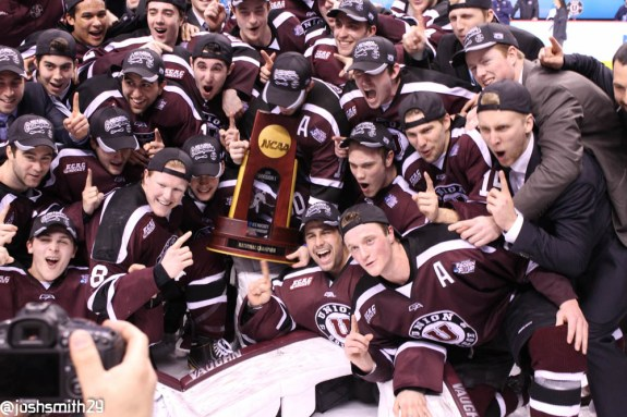 Union College Dutchmen celebrate their first ever National Championship in men's ice hockey.