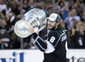 Drew Doughty of the Los Angeles Kings hoists the Cup after the Kings victory. (Gary A. Vasquez-USA TODAY Sports)