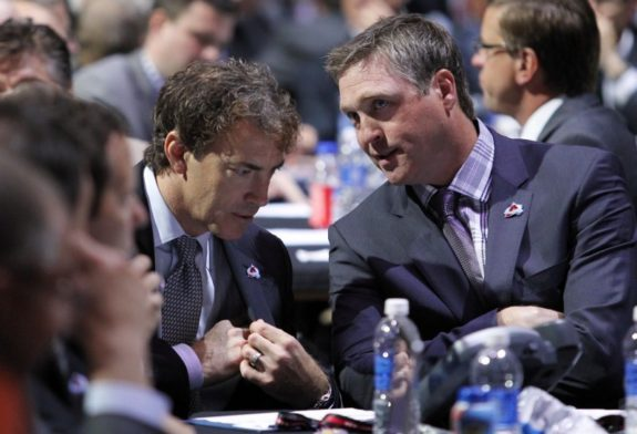 Joe Sakic and Patrick Roy