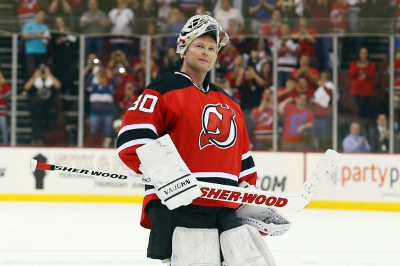 (Ed Mulholland-USA TODAY Sports) It was strange to see the New Jersey Devils start a season without Martin Brodeur between the pipes. That torch has been passed to Cory Schneider, with Brodeur currently on the sidelines as an unrestricted free agent but still wanting to resume his career with a Stanley Cup contender. Brodeur has been staying in shape by practising with the QMJHL's Gatineau Olympiques, alongside his son and fellow goalie Anthony, a New Jersey prospect.