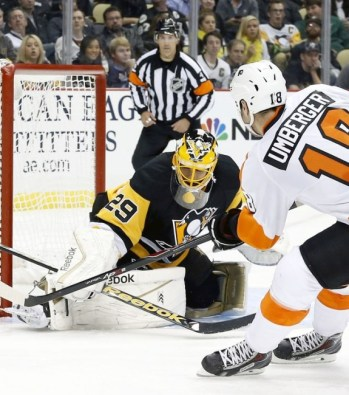 R.J. Umberger's goal in Pittsburgh on Oct. 22nd was his first goal scored in his hometown city since 2008. (Charles LeClaire-USA TODAY Sports)