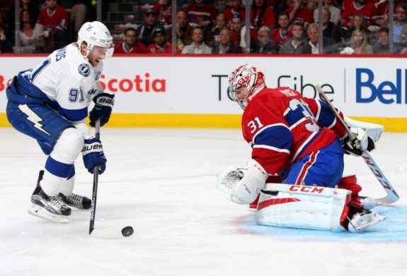 Tampa Bay Lightning forward Steven Stamkos and Montreal Canadiens goalie Carey Price