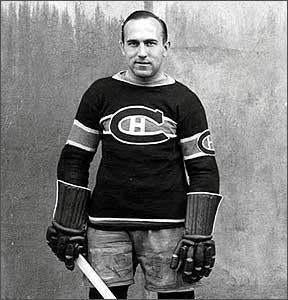 """Howie Morenz, """"The Stratford Flash,"""" scored a goal in the first NHL game in New York."""