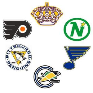 The six new teams admitted to the NHL in June 1967