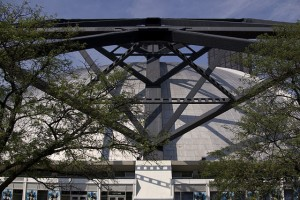 A view of the Civic Arena's 260-foot cantilevered arm that supported the dome. (Christopher Lancaster/Wikimedia)