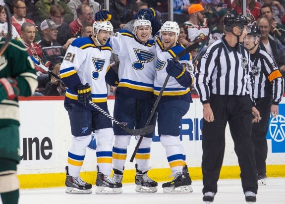 Forwards Patrik Berglund, Paul Stastny and Dmitrij Jaskin