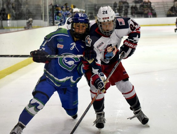 Celeste Brown of the New York Riveters battles Kelli Stack of the Connecticut Whale (Troy Parla)