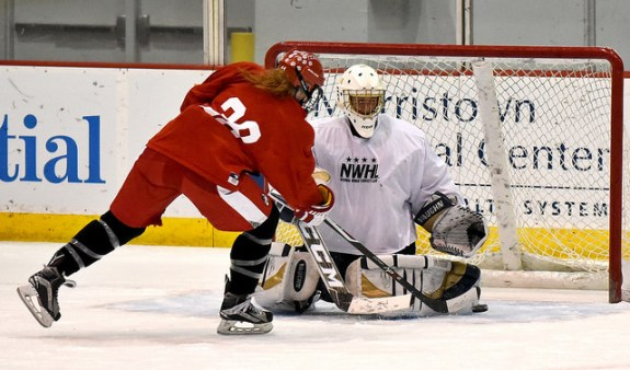 Dakota Woodworth attempts to score at the NWHL Free Agent Camp in NJ. (Photo Credit: Troy Parla)