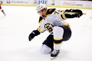 Vatrano's overtime goal in Detroit earned the Bruins two crucial points on Wednesday.(Rick Osentoski-USA TODAY Sports)
