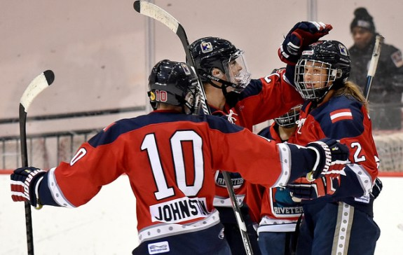 Ashley Johnston, Janine Weber and the Riveters celebrate a goal. (Photo Credit: Troy Parla)
