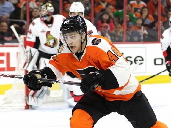"Jordan Weal, Ottawa Senators vs Philadelphia Flyers 3-28-17 (<a href=""https://www.facebook.com/38Photography"">Amy Irvin</a> / The Hockey Writers)"