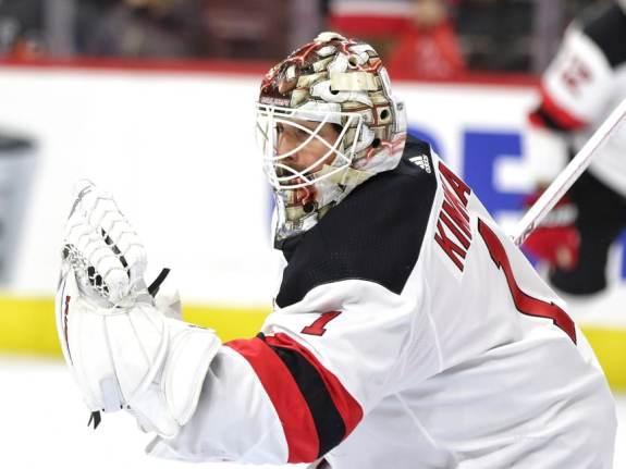 Keith Kinkaid #1, New Jersey Devils - January 20, 2018 (Amy Irvin / The Hockey Writers)