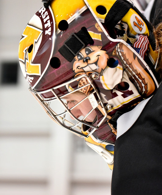 Amanda Leveille of the Buffalo Beauts is still showing her Golden Gophers pride. (Photo Credit: Troy Parla)