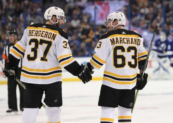 Bruins center Patrice Bergeron and left wing Brad Marchand