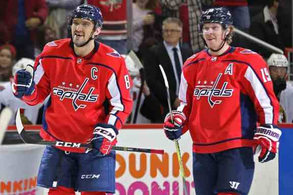 Alex Ovechkin celebrates with Capitals center Nicklas Backstrom