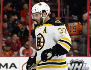 Bergeron is second in the League with 19 power-play points, three behind the League's leading scorer, Patrick Kane. (Amy Irvin / The Hockey Writers)