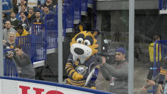 Mascots act like their usual selves in NHL 16, including leading fans in chants