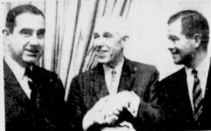 Clarence Campbell is flanked by George Fleherty (San Francisco) and Gordon Ritz (Minneapolis-St. Paul)