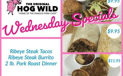 Wednesday, August 8, 2018 Specials