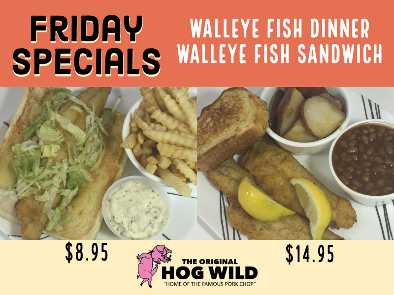 Friday, November 2, 2018 Daily Specials