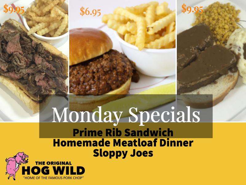 Monday, October 1, 2018 Daily Specials