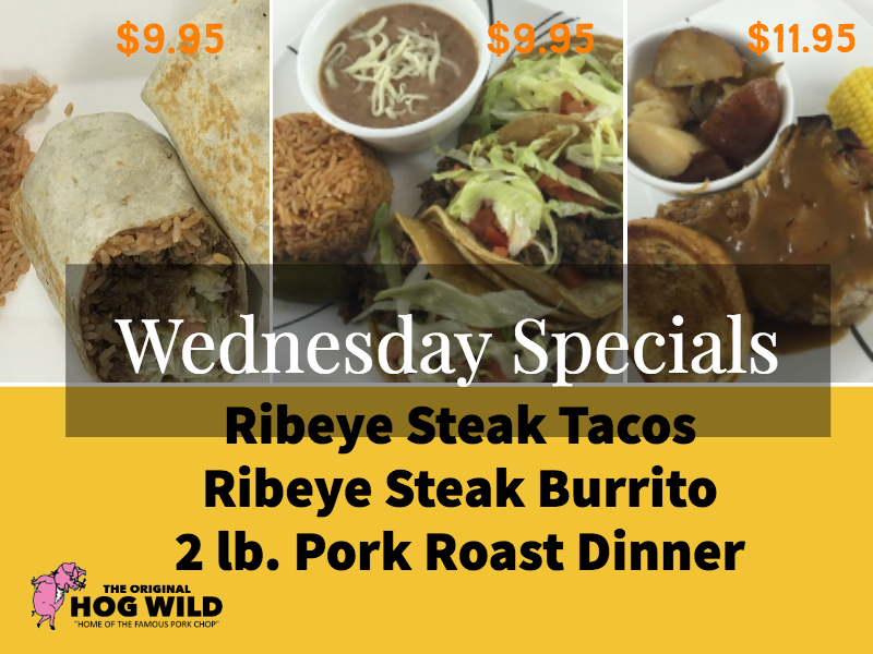 Wednesday, October 10, 2018 Daily Specials