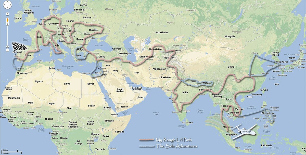Derek's RTW adventure map