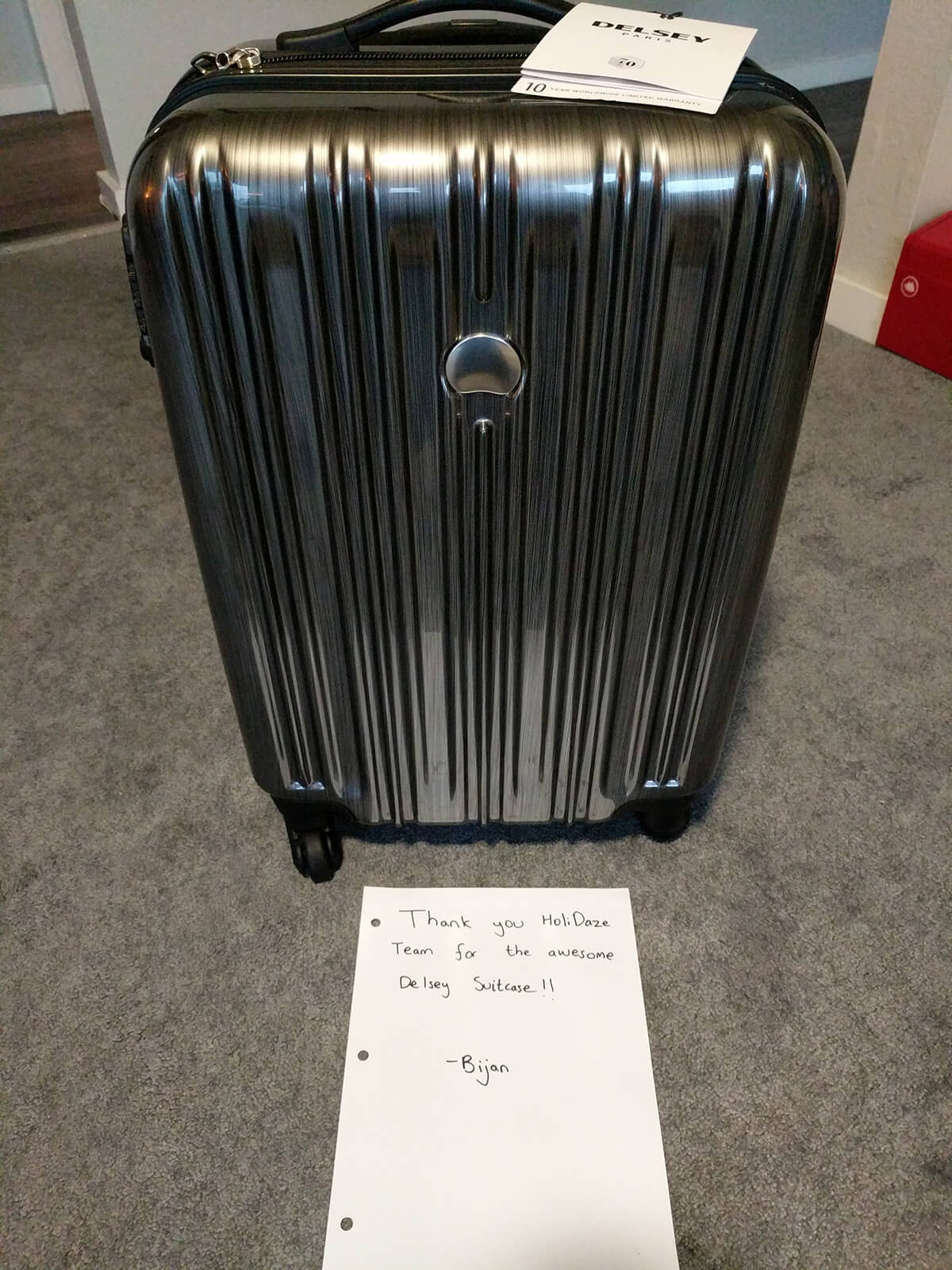Another HoliDaze giveaways winner thanking me for his new Delsey suitcase