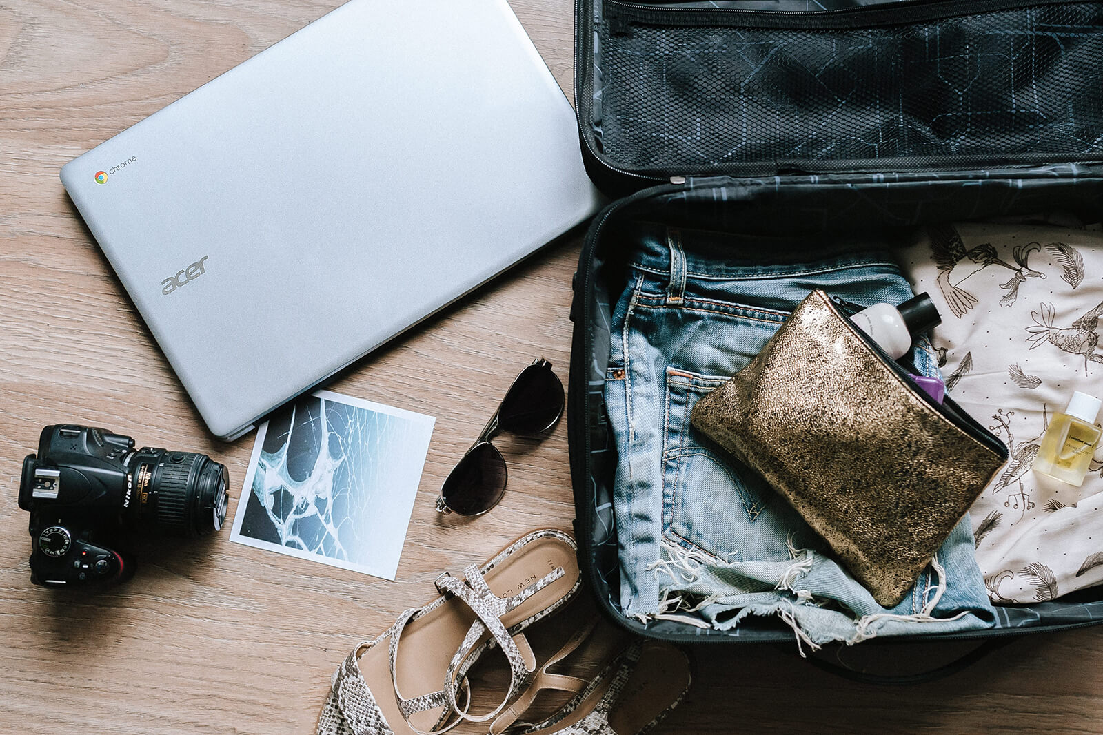 Packing the suitcase for a holiday trip