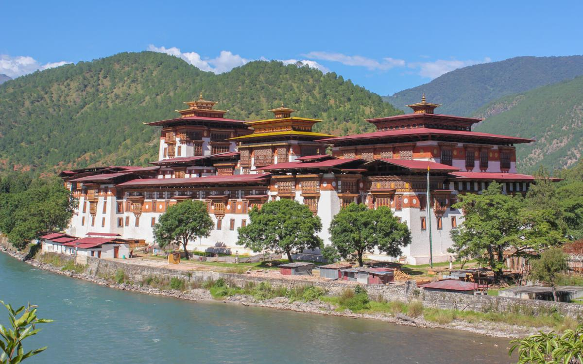 Punakha Dzong, built in 1638, is the second oldest and second largest dzong in Bhutan