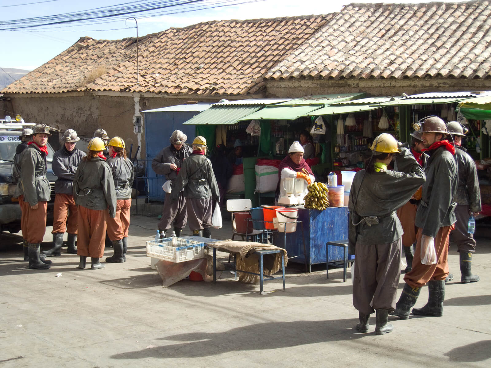 Preparing for our mine tour at Potosi Miners Market in Bolivia