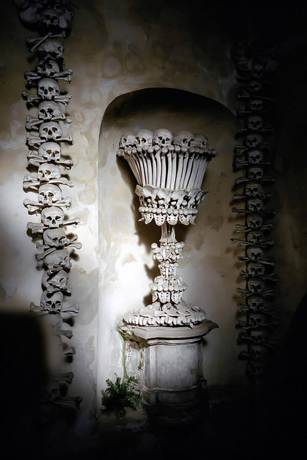 Sedlec Ossuary in Kutna Hora, Czech Republic, where every piece of art is made from human bones