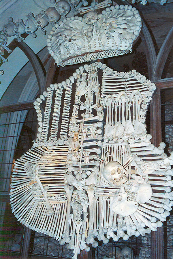 Family crest made from bones at the Sedlec Ossuary in Kutna Hora, Czech Republic