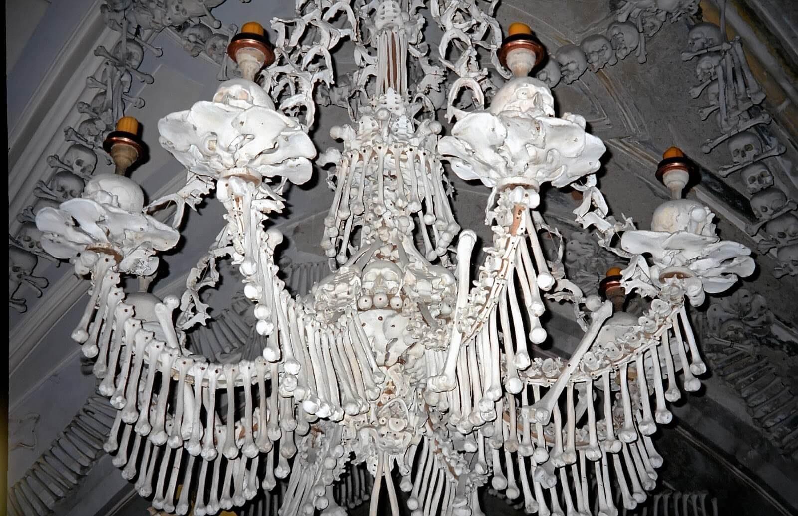 This chandelier at Sedlec Ossuary in Kutna Hora, the Czech Republic, contains at least one of every bone in the human body
