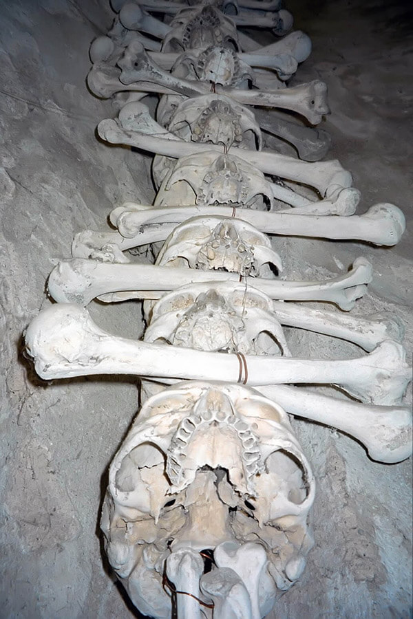 Close up of a garland of skulls at Sedlec Ossuary in Kutna Hora, Czech Republic