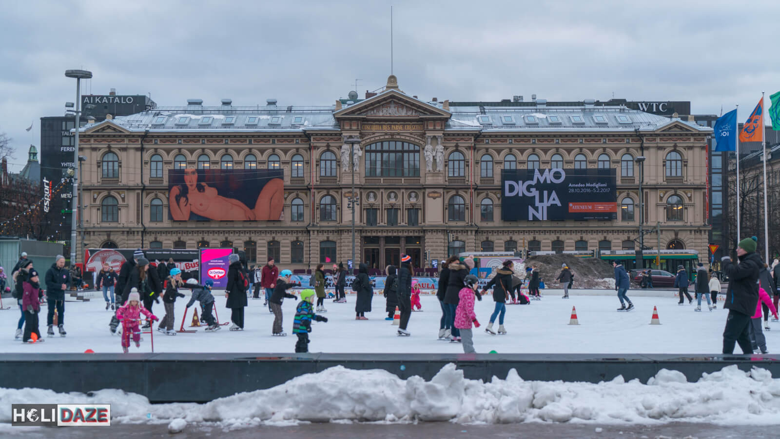 Ice Park in front of Ateneum art gallery in Helsinki, part of the Finnish National Gallery