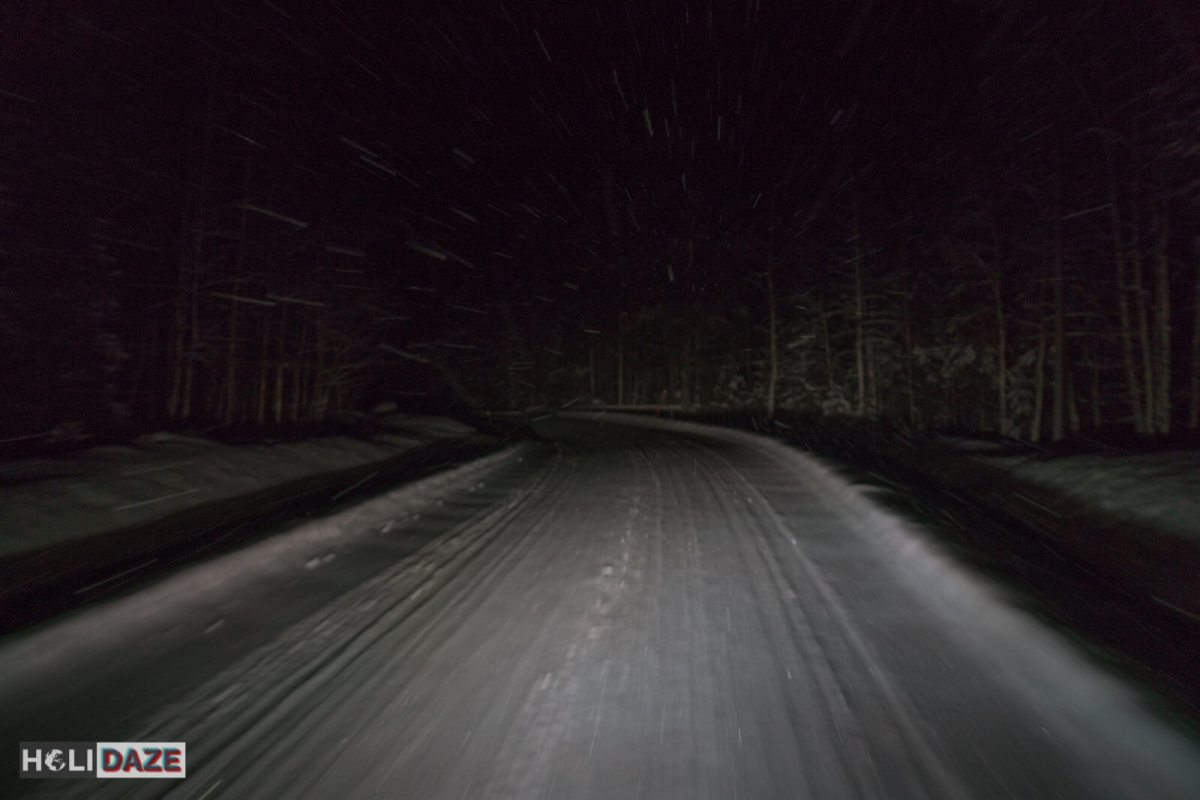 5pm in Northern Finland, pitch black and snowing and we are flying down the icy roads