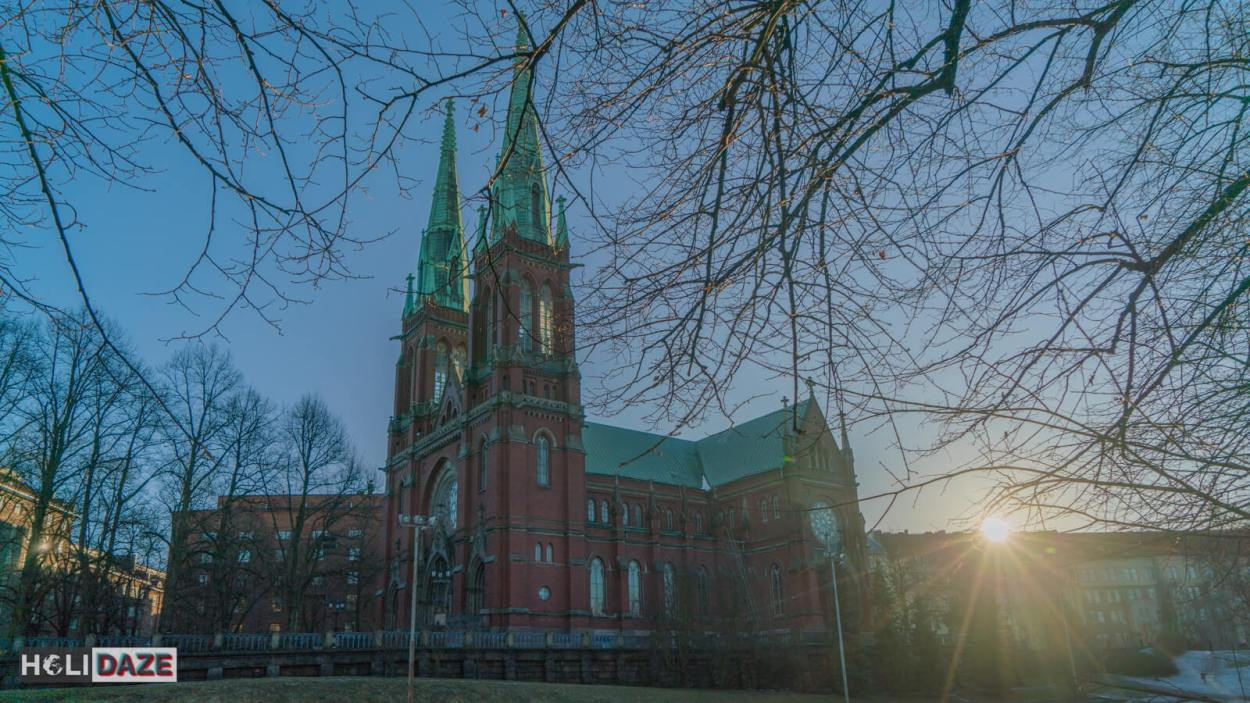 St. John's Church in Helsinki at sunset