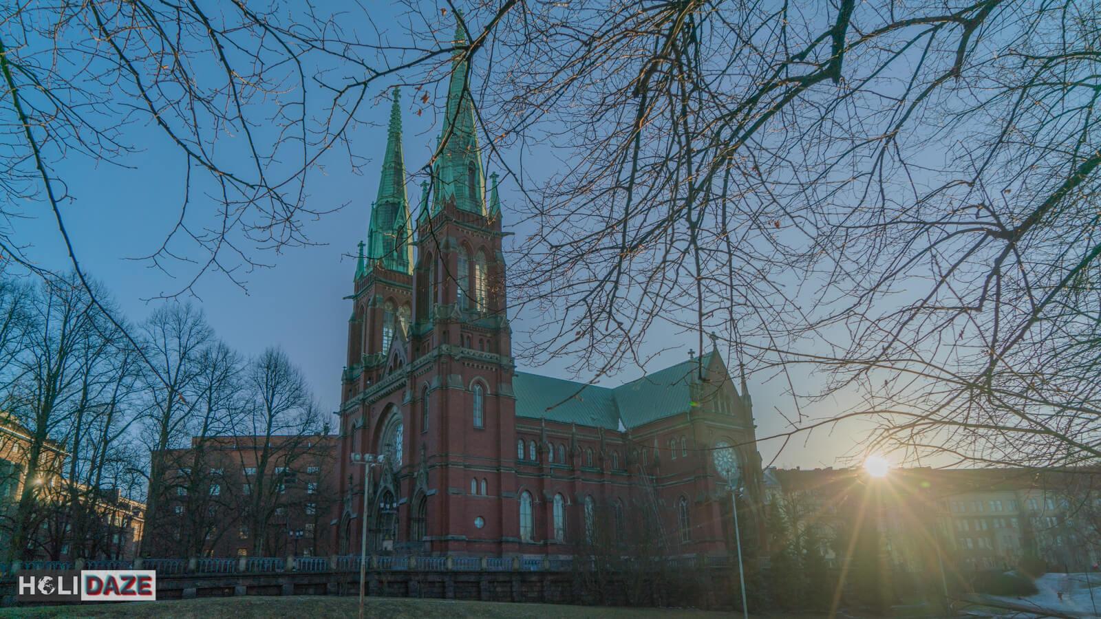 St. John's Church in Helsinki at sunset