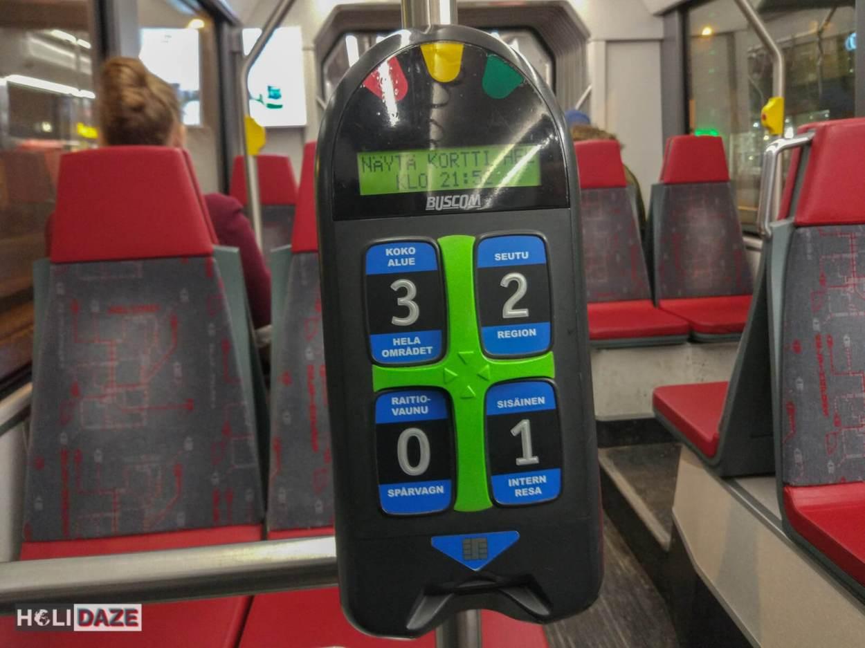Ticket reader aboard a tram in Helsinki, Finland