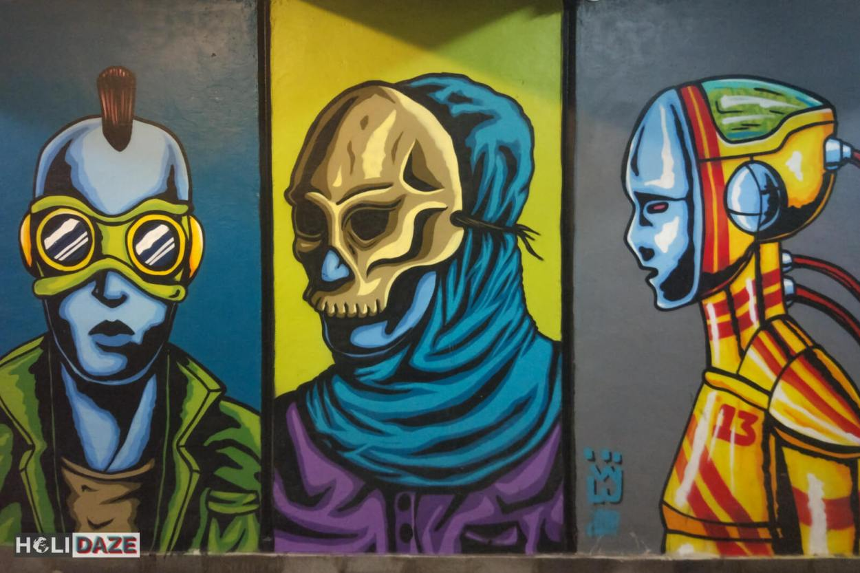 Tbilisi street art located at Nikoloz Baratashvili Bridge in Georgia
