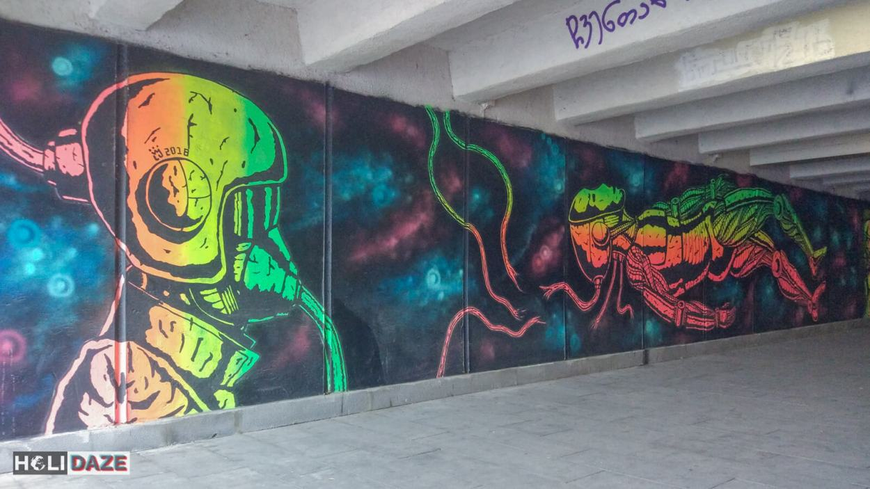 Huge Tbilisi street art I found in an underground tunnel